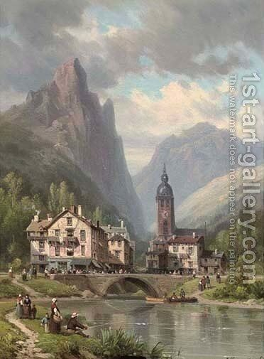 A town in a valley by Charles Euphrasie Kuwasseg, Jr. - Reproduction Oil Painting