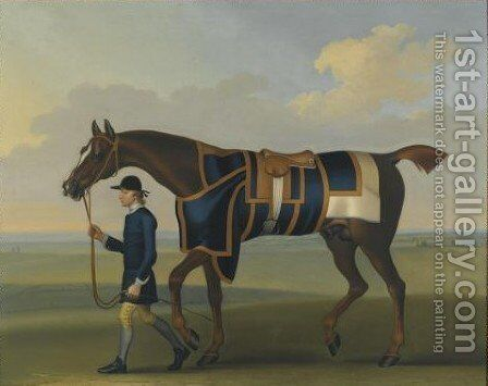 Portrait Of The Racehorse Sedbury, With A Groom by James Seymour - Reproduction Oil Painting