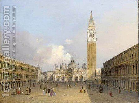 St Mark's Square with Doge's Palace, the Church San Giorgio Maggiore beyond by Carlo Grubacs - Reproduction Oil Painting
