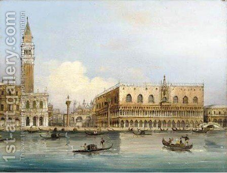 Gondolas on the Lagoon in front of St. Mark's Square by Carlo Grubacs - Reproduction Oil Painting