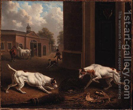 Two Dogs Outside a Stable by Charles Towne - Reproduction Oil Painting