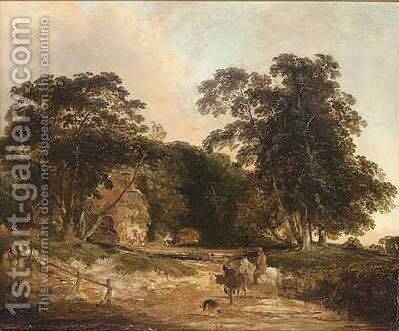 A country lane by Henry John Boddington - Reproduction Oil Painting