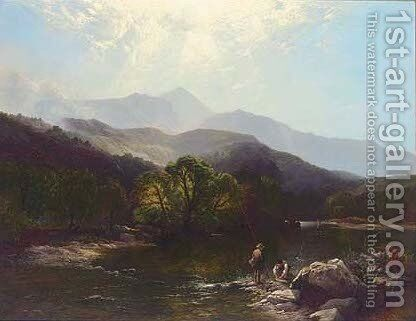 A trout stream, North Wales by Henry John Boddington - Reproduction Oil Painting