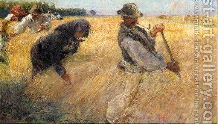 The Harvesters 2 by Ignac Ujvary - Reproduction Oil Painting