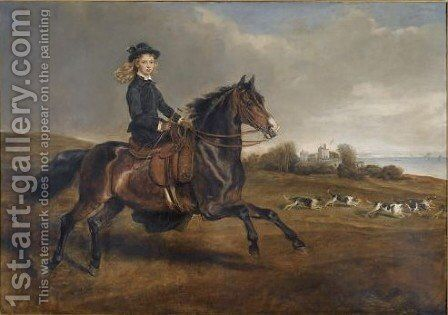 Portrait Of Lady Victoria Leveson-Gower (1867-1953) On Her Pony Lady Whitworth by Sir Francis Grant - Reproduction Oil Painting