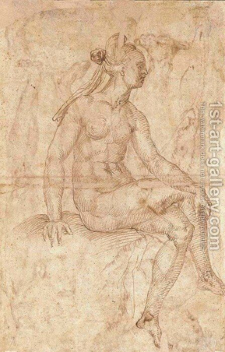A nude gesturing to the left, with subsidiary studies of the legs and feet by Baccio Bandinelli - Reproduction Oil Painting
