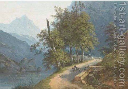 Travellers in a mountain valley by Henri Knip - Reproduction Oil Painting