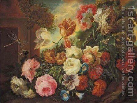 Still life of flowers 2 by Albertus Verhoesen - Reproduction Oil Painting