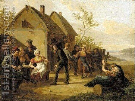 Merriment outside the tavern by Constantin Fidèle Coene - Reproduction Oil Painting