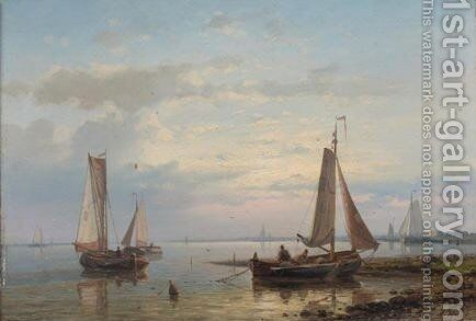 Setting Sail In Calm Waters by Abraham Hulk Jun. - Reproduction Oil Painting