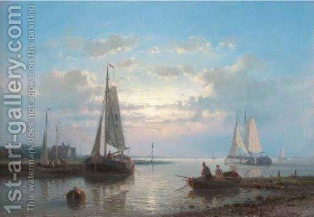 Fishing Boats on an Estuary by Abraham Hulk Jun. - Reproduction Oil Painting
