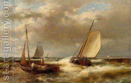 Boats In A Swell by Abraham Hulk Jun. - Reproduction Oil Painting