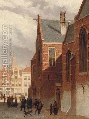 Bustling Dutch street scene 2 by Abraham Hulk Jun. - Reproduction Oil Painting