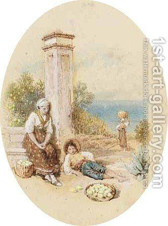 The Lemon Gatherers, Lake Garda, Italy by Myles Birket Foster - Reproduction Oil Painting
