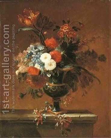 A parrot tulip, peonies and other flowers in an urn on a ledge 2 by Jacques-Charles Dutillieu - Reproduction Oil Painting