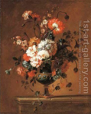 Carnations, peonies, narcissi and other flowers in an urn on a ledge 2 by Jacques-Charles Dutillieu - Reproduction Oil Painting