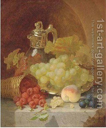Still life of fruit on a silver salver with a jug by Eloise Harriet Stannard - Reproduction Oil Painting