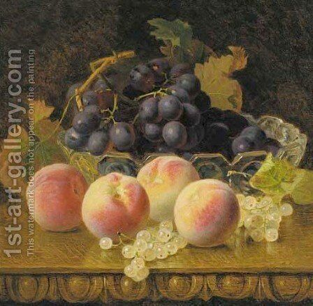 Back grapes in a glass bowl with peaches and whitecurrants by Eloise Harriet Stannard - Reproduction Oil Painting