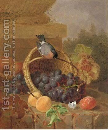 Still life of fruit, a bullfinch and a butterfly by Eloise Harriet Stannard - Reproduction Oil Painting