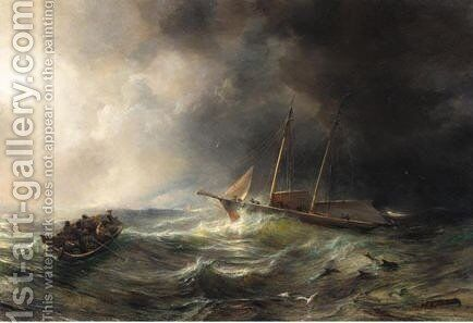 The Schooner Claymore In A Storm by Theodore Gudin - Reproduction Oil Painting