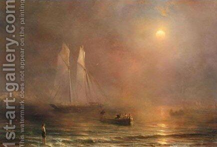 The Schooner Claymore On Calm Seas by Theodore Gudin - Reproduction Oil Painting