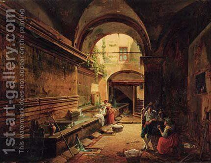 By the well|The friary washhouse by Nicholas-Ambroise Chatelin - Reproduction Oil Painting