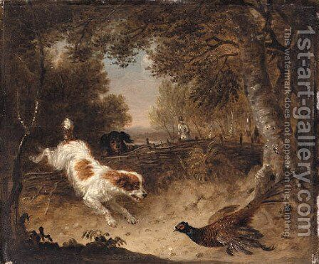 Spaniels retrieving a Pheasant by Edmund Bristow - Reproduction Oil Painting