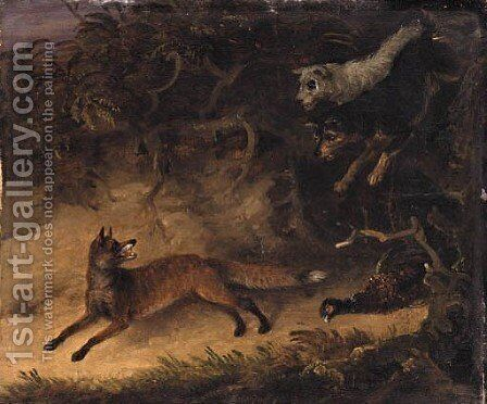 Terriers surprising a Fox by Edmund Bristow - Reproduction Oil Painting