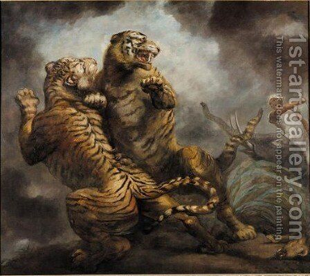 Tiger Hunting 2 by James Northcote, R.A. - Reproduction Oil Painting