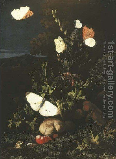 A forest floor still life with butterflies and lizards by Elias van den Broeck - Reproduction Oil Painting