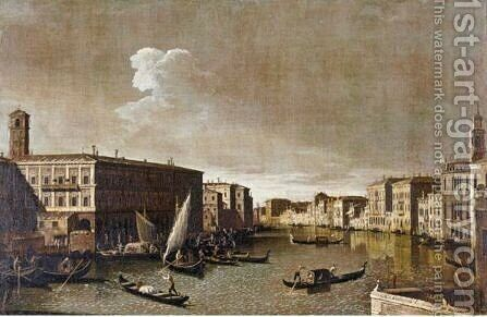 View Of The Grand Canal Looking North From The Rialto 2 by Apollonio Domenichini - Reproduction Oil Painting
