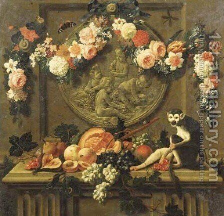 Trompe l'oeils Garlands of flowers hanging from ribbons on nails over feigned sculpted cartouches, above ledges with fruit, a squirrel and a monkey by Johann Amandus Wink - Reproduction Oil Painting