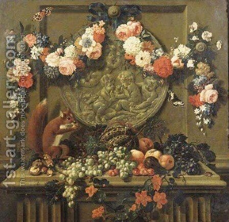 Trompe l'oeils Garlands of flowers hanging from ribbons on nails over feigned sculpted cartouches, above ledges with fruit, a squirrel and a chappie by Johann Amandus Wink - Reproduction Oil Painting