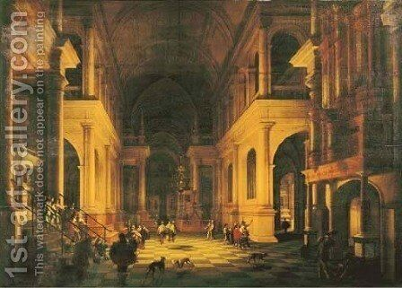 The interior of a Renaissance cathedral by candlelight with the entrance of a dignitary and his entourage by Anthonie De Lorme - Reproduction Oil Painting