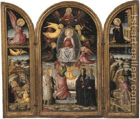 A Triptych The Assumption of the Virgin with Saint Thomas receiving the Girdle, with Saints Jerome, Margaret, Bridget [Birgitta] of Sweden and Cather by Nero di Bicci - Reproduction Oil Painting