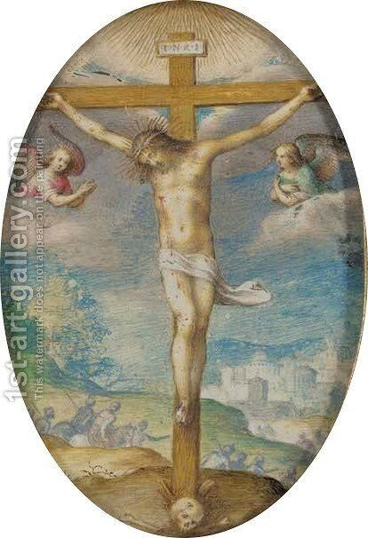 The Crucifixion by Giovanni B. (Il Genvovese) Castello - Reproduction Oil Painting