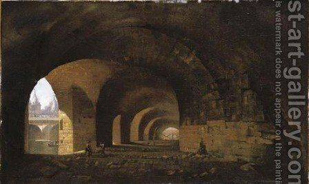 Paris, A View Of The Vaults Of The Quai De Gesvres Near The Pont Au Change by Jean-Baptiste-Louis Cazin - Reproduction Oil Painting