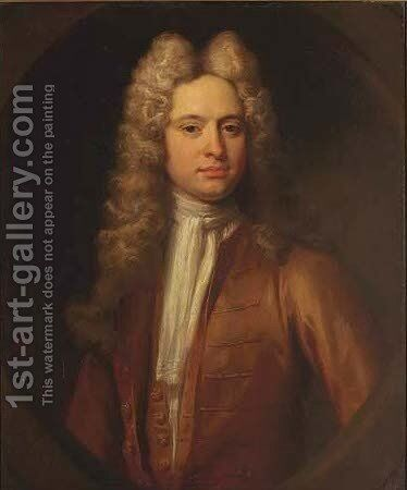 Portrait of a Gentleman, in a brown coat by (attr.to) Closterman, Johann - Reproduction Oil Painting