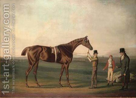 A racehorse in an extensive landscape, with a jockey, groom and trainer, a racecourse beyond by Daniel Clowes - Reproduction Oil Painting