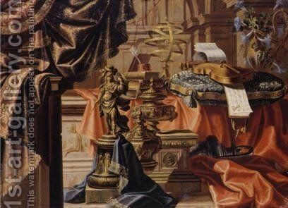 Still Life With Various Gilt Objects, Violins Resting On Embroidered Cushion, Sheet-Music And Other Objects Resting On Table, Draped With Cloth 2 by Meiffren (Ephren) Conte (Leconte) - Reproduction Oil Painting