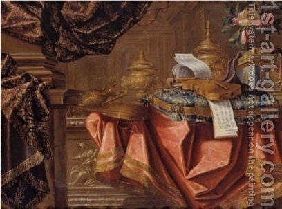 Still Life With Various Gilt Objects, Violins Resting On Embroidered Cushion, Sheet-Music And Other Objects Resting On Table, Draped With Cloth by Meiffren (Ephren) Conte (Leconte) - Reproduction Oil Painting