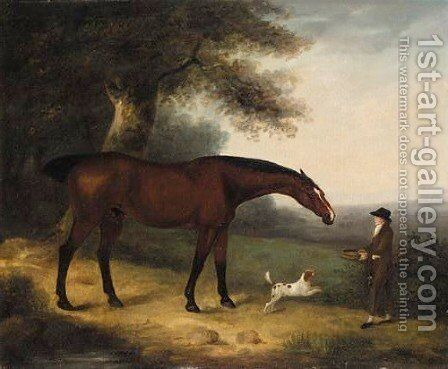 A Groom Feeding A Horse In A Landscape by Edwin Cooper - Reproduction Oil Painting
