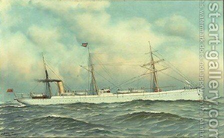 The Steamship Silvertown by Antonio Nicolo Gasparo Jacobsen - Reproduction Oil Painting