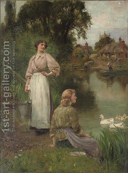 Feeding the ducks, a summer day by the river by Henry John Yeend King - Reproduction Oil Painting