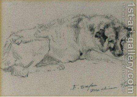 The Artist's Dog Asleep 2 by Jacques-Edouard Dufeu - Reproduction Oil Painting