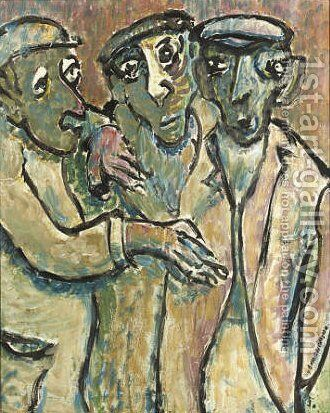 Three men with flat caps by Jerome B. Thompson - Reproduction Oil Painting