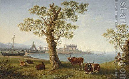 The harbour of Terracina with cattle in the foreground by Jakob Philippe Hackert - Reproduction Oil Painting