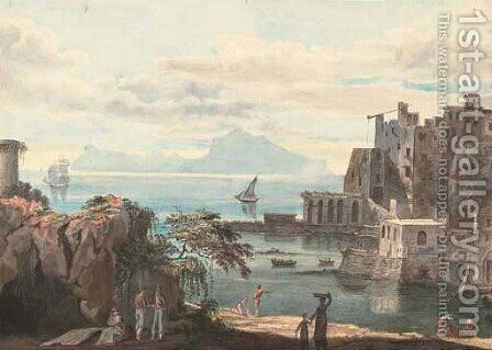 The sun breaking through the clouds over the Bay of Naples by Harriet Cheney - Reproduction Oil Painting