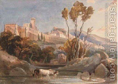 Cattle watering at Assisi by Harriet Cheney - Reproduction Oil Painting