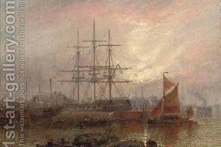 Repairing Dock, East Greenwich by Claude T. Stanfield Moore - Reproduction Oil Painting